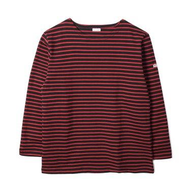 NOCLAIM Boat-neck Basque Shirt Grey x Ivory