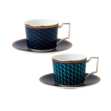 바이잔스 커피잔 2인조 (블루/그린)