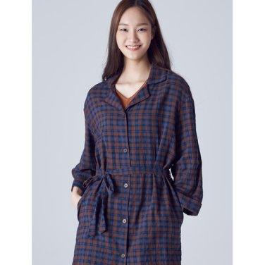 여성 브라운 타탄체크 오픈칼라 셔츠 원피스 (158771SY4D)