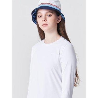 화이트 여성 솔리드 라운드넥 티셔츠 (BO9141C211)