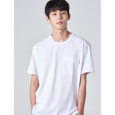 남성 화이트 솔리드 절개 플랩포켓 라운드넥 티셔츠 (219742BY21)