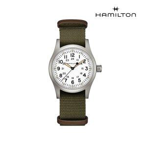 H69439411 카키 필드 메커니컬 38mm 화이트 다이얼 카키 나토 스트랩 남성 시계