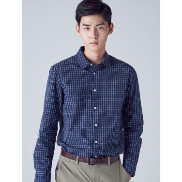 남성 네이비 윈도우페인 체크 코튼 셔츠 (228764TY2R)