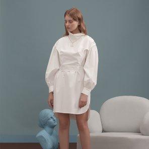 화이트 셔츠 버튼 드레스