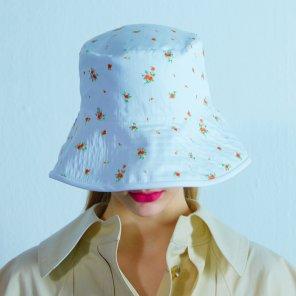 Reversible Flower bucket hat 004 White