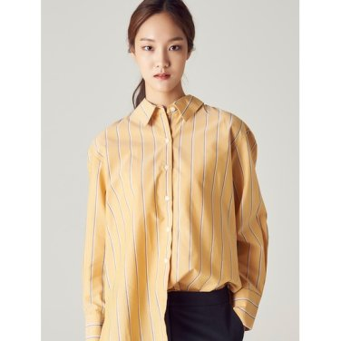 여성 머스터드 투컬러 핀 스트라이프 셔츠 (328764CY2G)