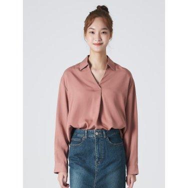 여성 라이트 핑크 솔리드 풀오버 셔츠 (329864LY1Y)