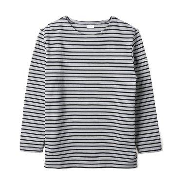 NOCLAIM Boat-neck Basque Shirt Grey x Black