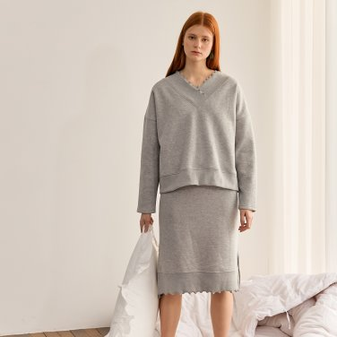 FRILL BASIC SKIIRT_MELANGE GREY