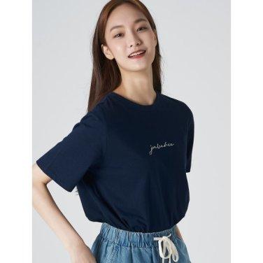 여성 네이비 코튼 레터링 엠브로이더리 반소매 티셔츠 (329742LYGR)