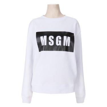 MSGM 여성 박스 로고 프린트 스웨트셔츠 2541MDM96 화이트