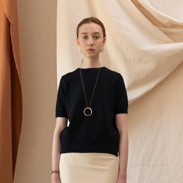 Athy Basic Half Sleeves Knit TOP [Black] (JC19SSKT01BK)