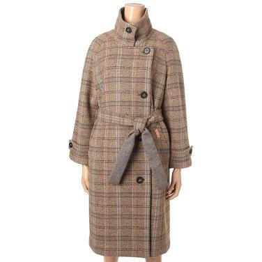 [여성]밴드카라 체크롱 코트(T198MCT242W)