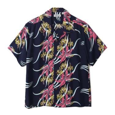 SUN SURF Rayon Hawaiian Shirt Hawaiian Hula Navy