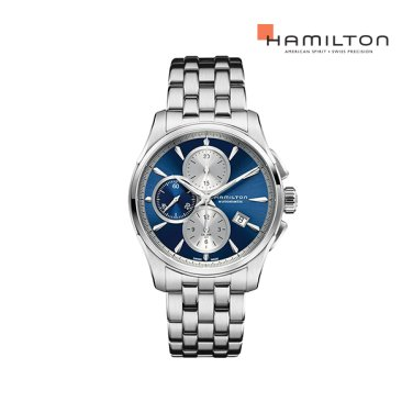 H32596141 재즈마스터 오토크로노 블루/메탈 남성 시계