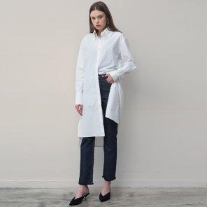 Side Pocket Shirt Dress (White)