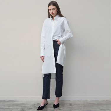 Side Pocket Shirt Dress (White)