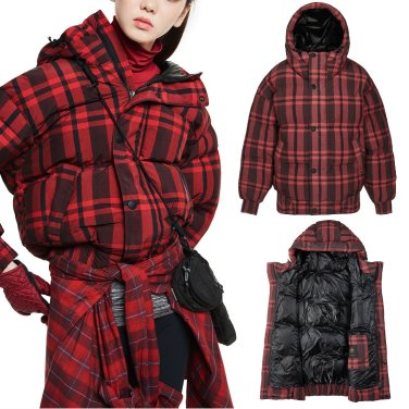 [쇼핑백증정]여성 프린트 다운자켓(튜브숏 체크)JKJDW18114DRE