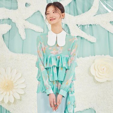 MINT RIPPLE BLOUSE