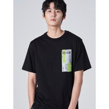 남성 블랙 스퀘어 그래픽 라운드넥 티셔츠 (429742DY55)
