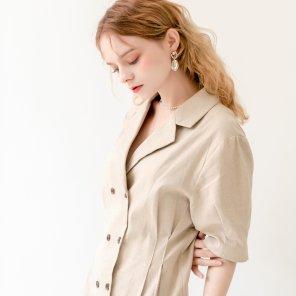 Linen Puff Double Collar Dress Beige(2019SUOP320_01)
