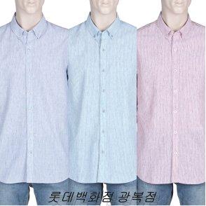 올젠 베이직컬러 멜란지 슬럽 스트라이프 셔츠 ZPZ2WC1502