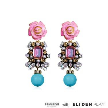 [피버리쉬] ROSE EARRINGS-PINK (FL12E1)