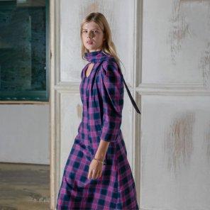 퍼플 체크 퍼프소매 드레스(PL9OP07)