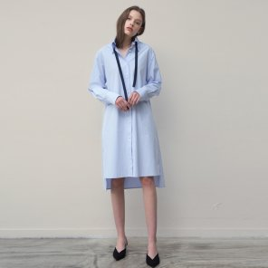Side Pocket Shirts Dress (Blue)