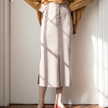 Herringbone Button Slit Midi Skirt Beige(2019SSSK320_01)