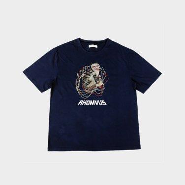 민화 호랑이 티셔츠 - NAVY