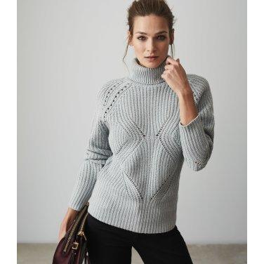 [리스여성] 짜임 포인트 목폴라 니트 티셔츠 [672-91-18-003]