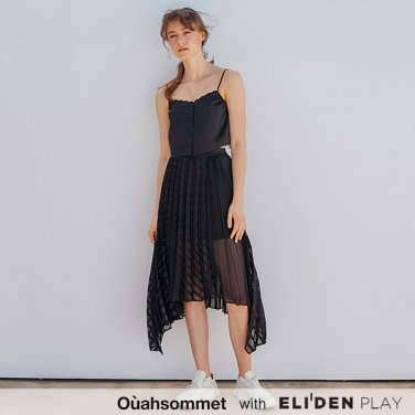 [우아솜메] Ouahsommet Stripe Pleated Skirt_BK (OBFSK004A)