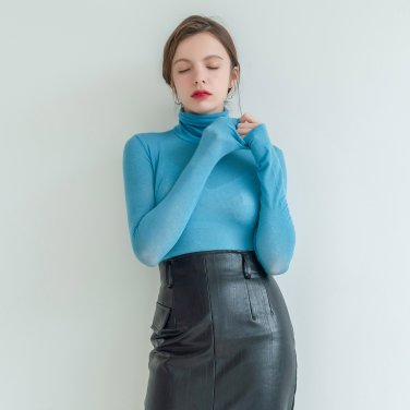 Wool Tencel Long Sleeve Turtle Neck Blue (2019WTS320_03)