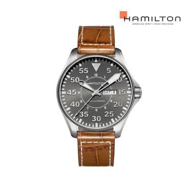 H64715885 카키 킹 파일럿 오토 46mm 그레이 가죽 남성 시계