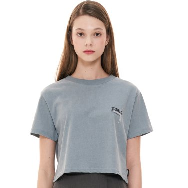 (CTC1) 피그먼트 로고 반팔 크롭 티셔츠 블루