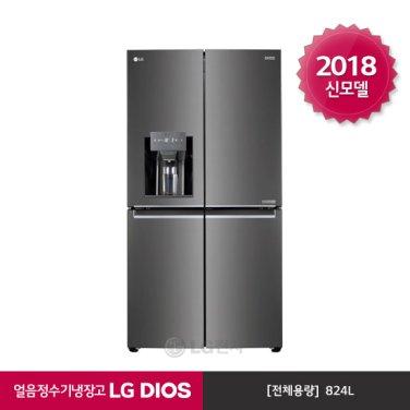 LG DIOS 얼음정수기 양문형냉장고 J821SB35 (824L/샤이니다이아블랙)