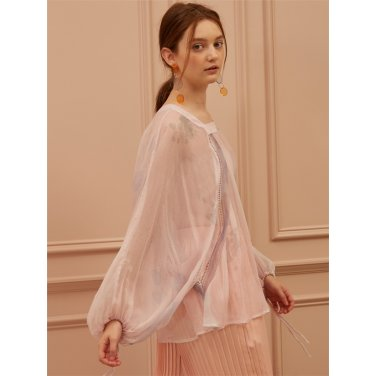 [까이에] Bishop Sleeve Silk Print Blouse
