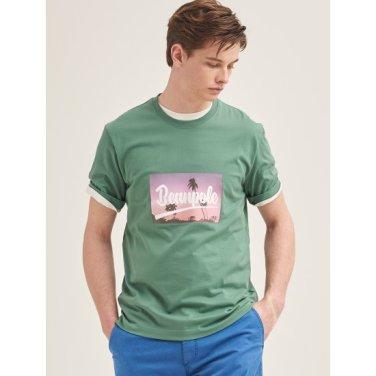 그린 포토 프린트 반소매 티셔츠 (BC9442C22M)