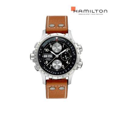 H77616533 카키 엑스윈드 블랙 가죽 남성 시계