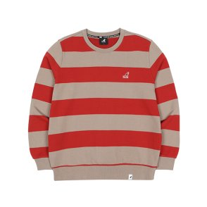 와이드 스트라이프 스웨트 셔츠 1615 버건디