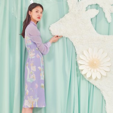 MURMURING WAVE DRESS LAVENDER