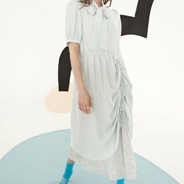 민트 셔링 롱 드레스