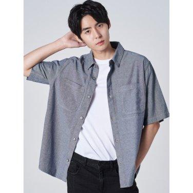 남성 네이비 샴브레이 반소매 데님 셔츠 (269765FY1R)
