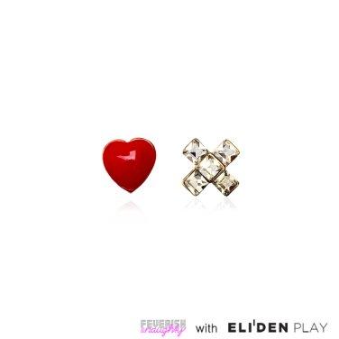 [피버리쉬앤너티] HEART CROSS EARRINGS-GOLD (LS1E1)