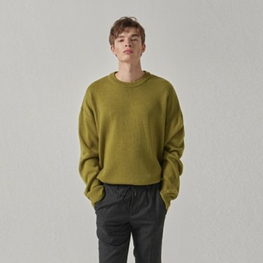 WIDE ROUND OVER KNIT_OLIVE