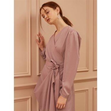 [까이에] Drop Shoulder Draped Robe-Dress