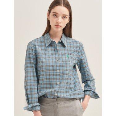 스카이 블루 멀티 체크 배색 로고 셔츠 (BF9864C15Q_)