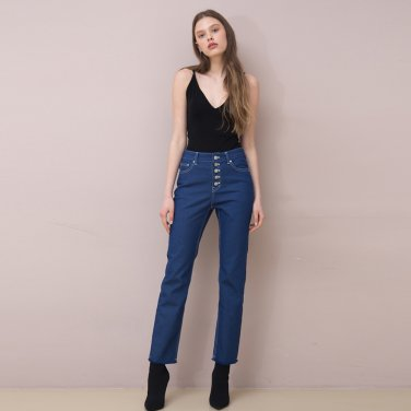 Button Fly Cropped Jeans (Blue)