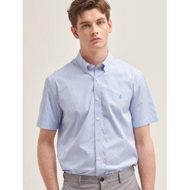 스카이 블루 스트라이프 베이직 반소매 셔츠